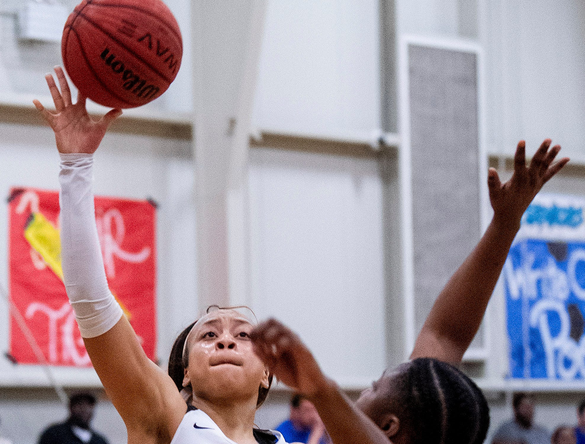 Brewbaker Tech's Taylor Sharpe (1) shoots over Valley's Emerald Floyd (15) at the BrewTech campus in Montgomery, Ala., on Thursday February 7, 2019.