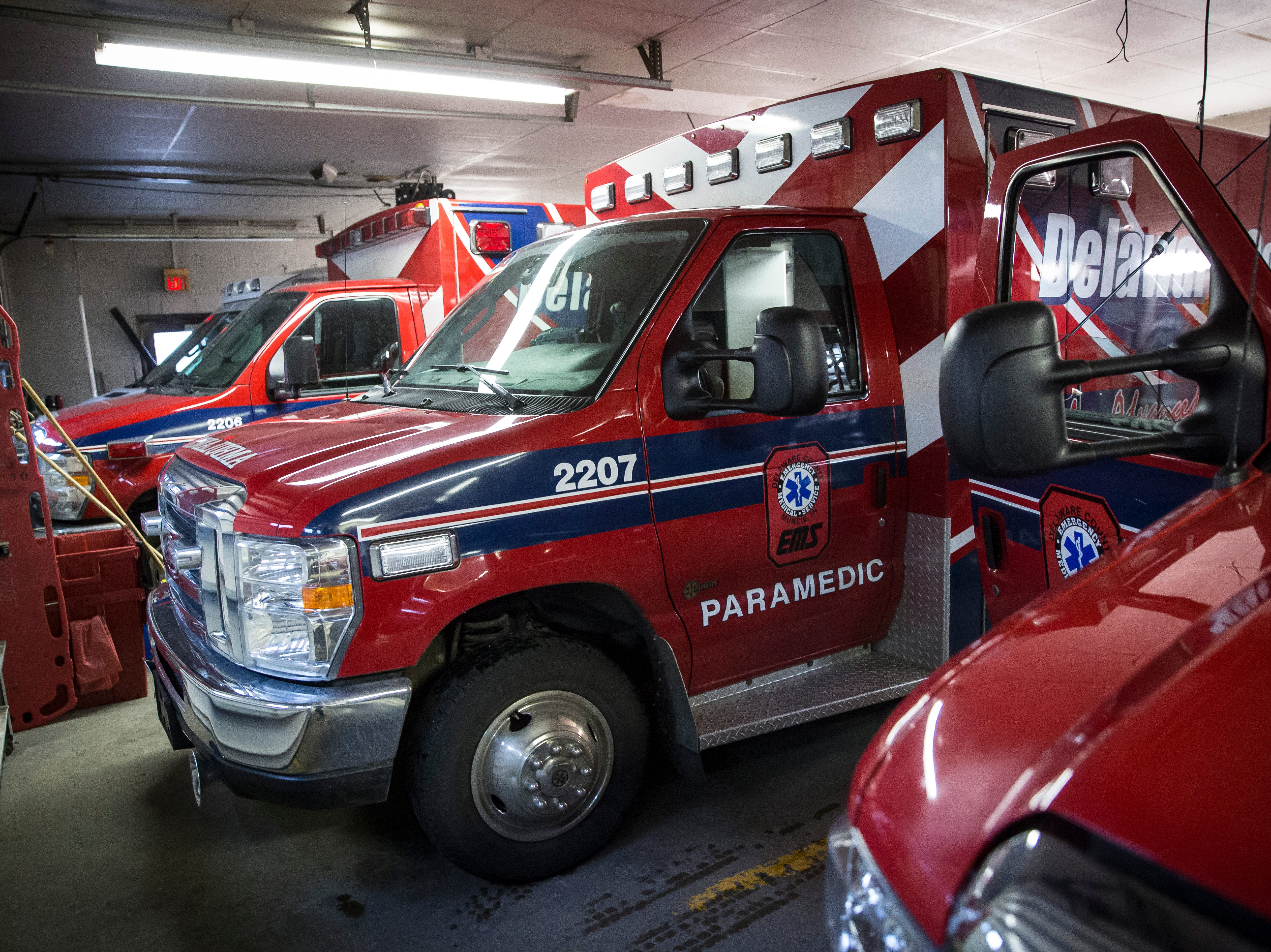 Delaware County EMS crews restock trucks after runs in the downtown station on Friday, Feb. 8.