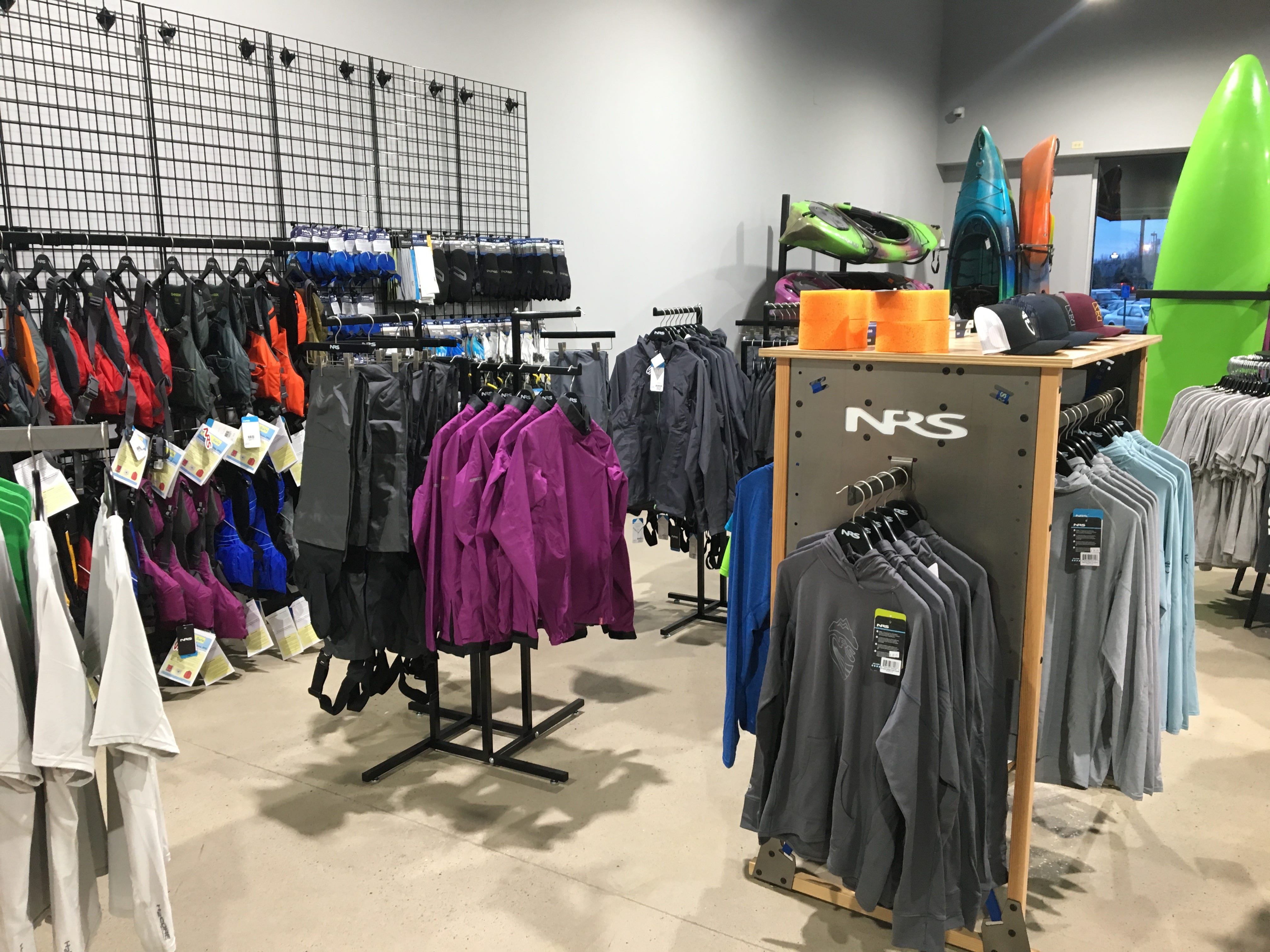 Hook 1 outfitters in Murfreesboro has NRS kayak apparel, and more will be added in the coming months.