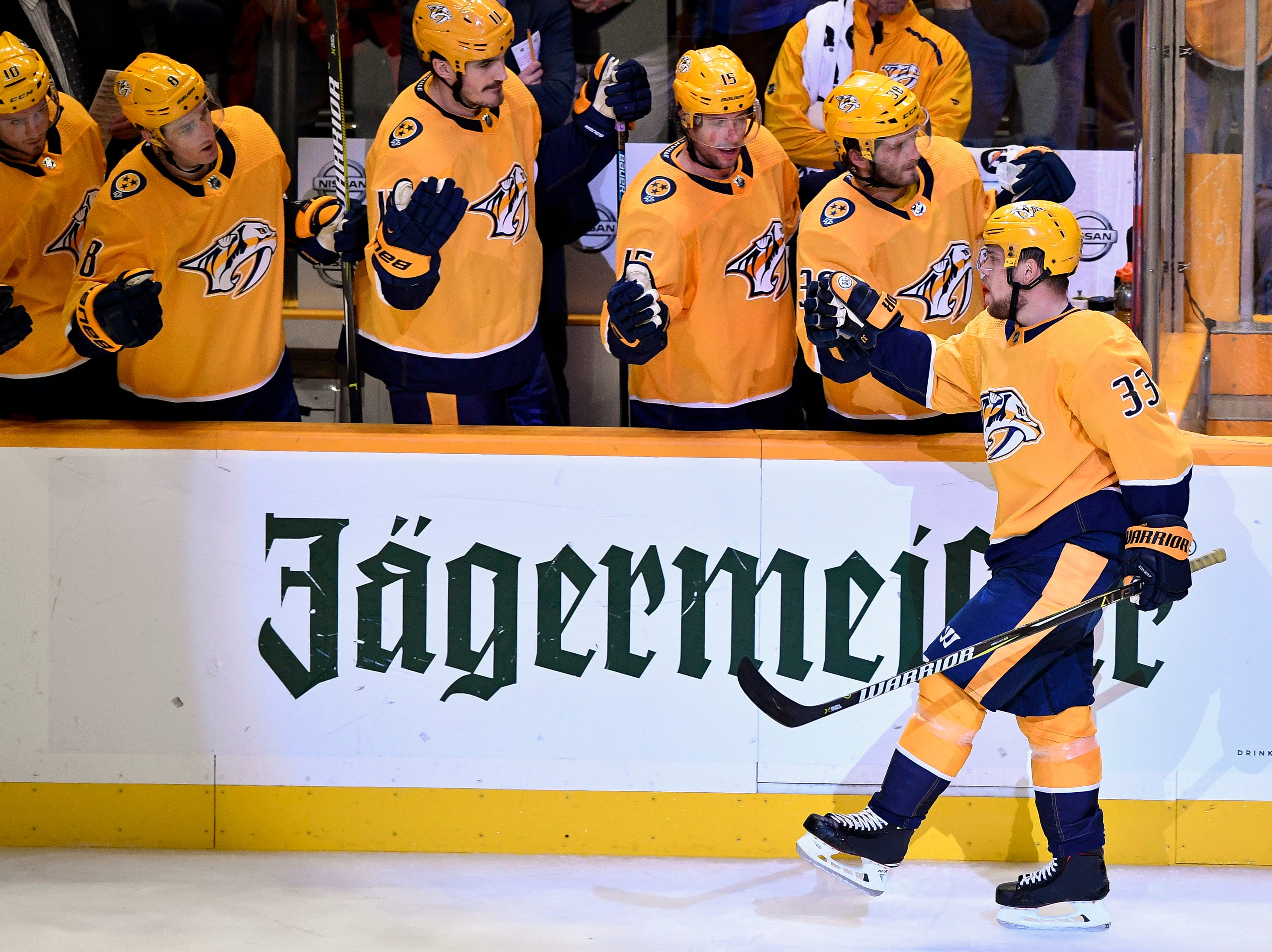 Nashville Predators right wing Viktor Arvidsson (33) reacts to scoring against the Dallas Stars during the third period at Bridgestone Arena in Nashville, Tenn., Thursday, Feb. 7, 2019.