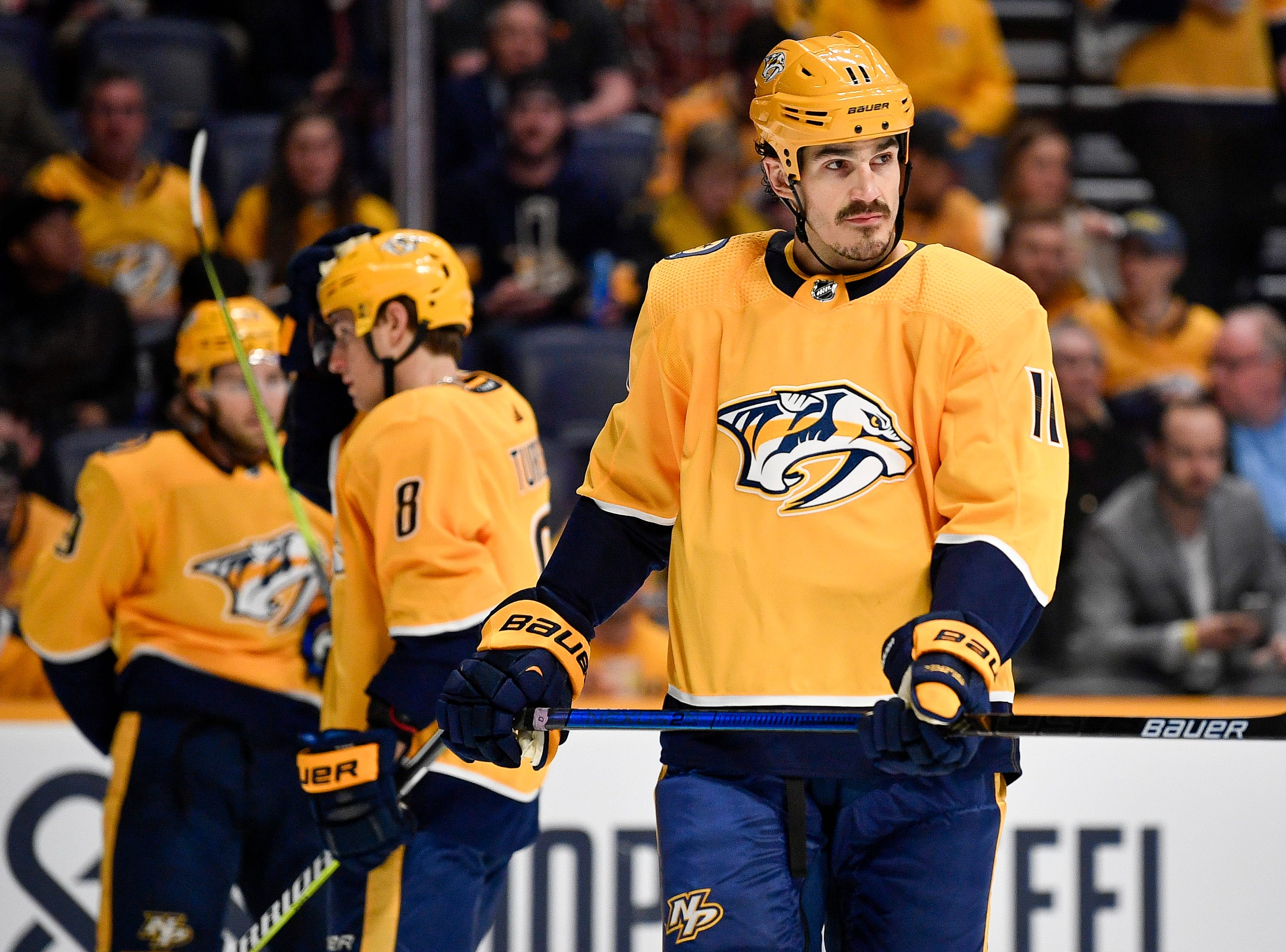 Nashville Predators center Brian Boyle (11) gets into position against the Dallas Stars during the first period at Bridgestone Arena in Nashville, Tenn., Thursday, Feb. 7, 2019.