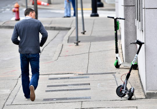 Scooters have taken over downtown areas in many of Tennessee's major cities raising concerns of safety and where they are parked Friday, Jan. 7, 2019, in Nashville, Tenn.