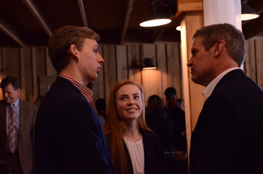 Gov. Bill Lee, right, speaks with Station Camp High School student Bill Mouchette and Beech High School student Emily Hickman at Sumner County Schools CTE Day Feb. 8, 2019.