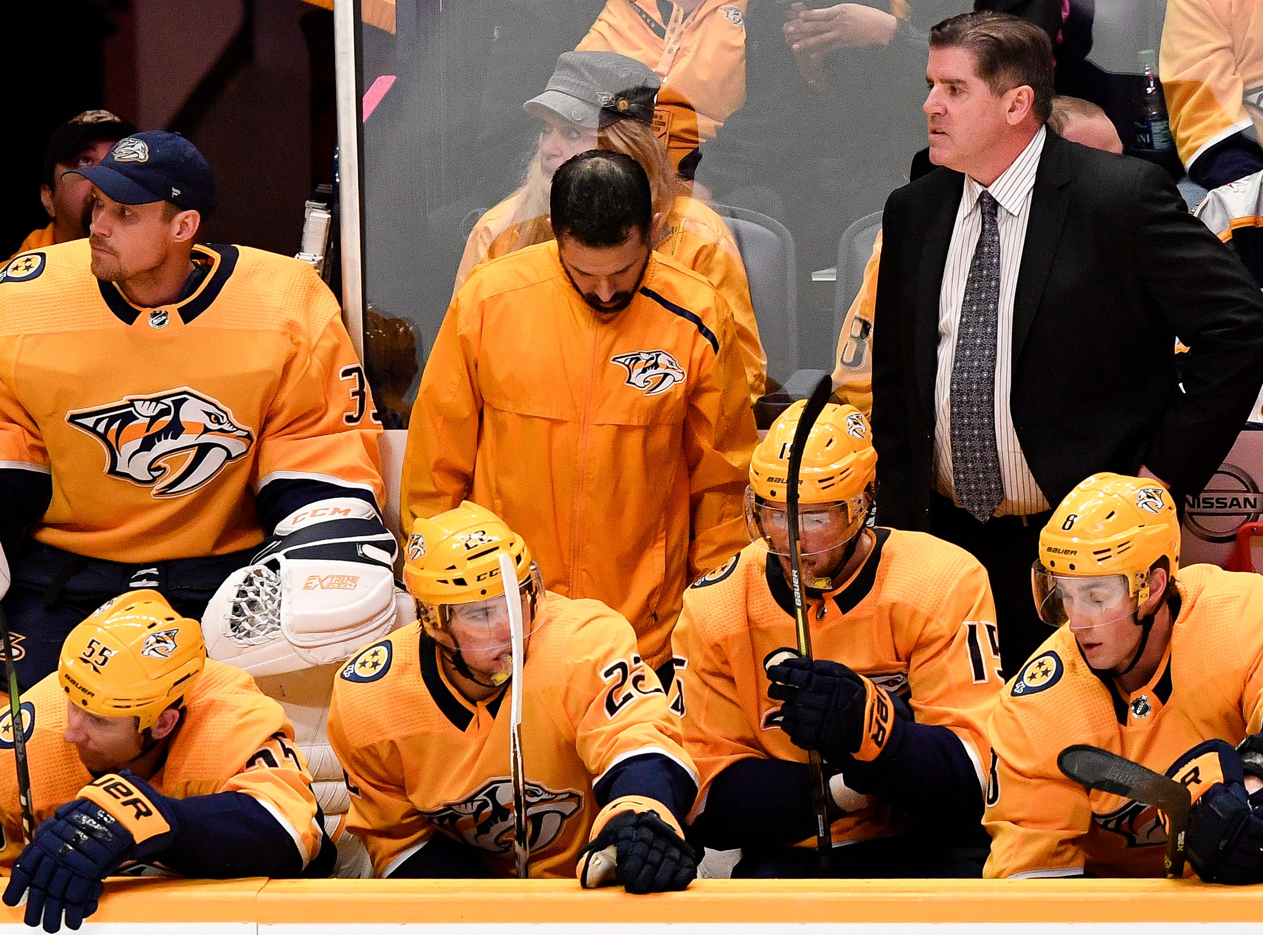 Nashville Predators coach Peter Laviolette watches his team face the Dallas Stars during the third period at Bridgestone Arena in Nashville, Tenn., Thursday, Feb. 7, 2019.