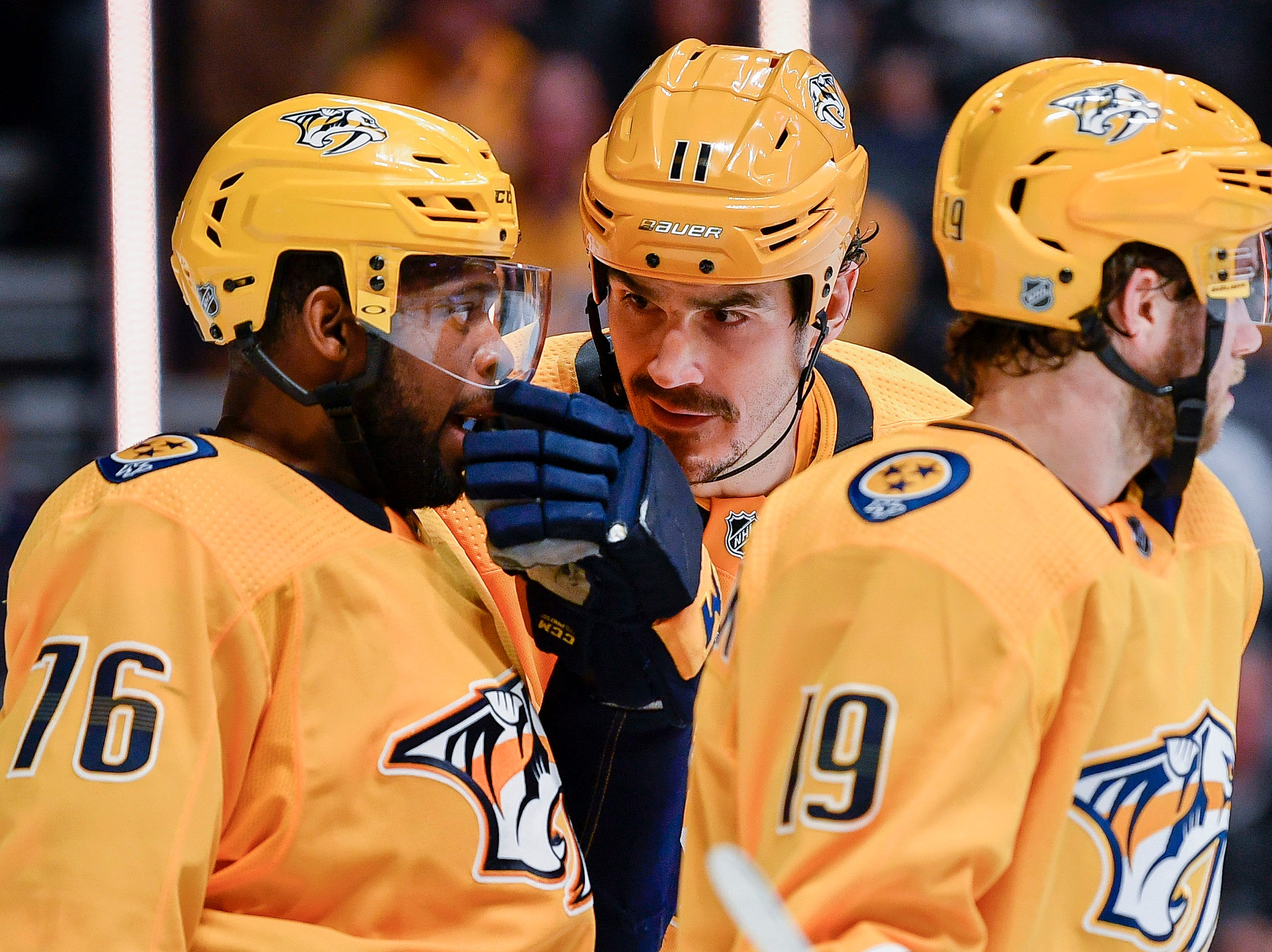 Nashville Predators center Brian Boyle (11) chats with defenseman P.K. Subban (76) during the second period against the Dallas Stars at Bridgestone Arena in Nashville, Tenn., Thursday, Feb. 7, 2019.