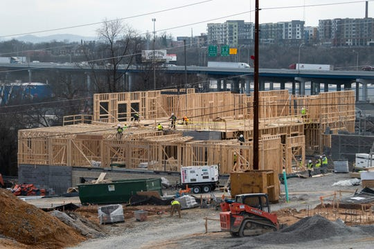 Construction, shown in February, is part of a large redevelopment plan at the James A. Cayce Homes in East Nashville.