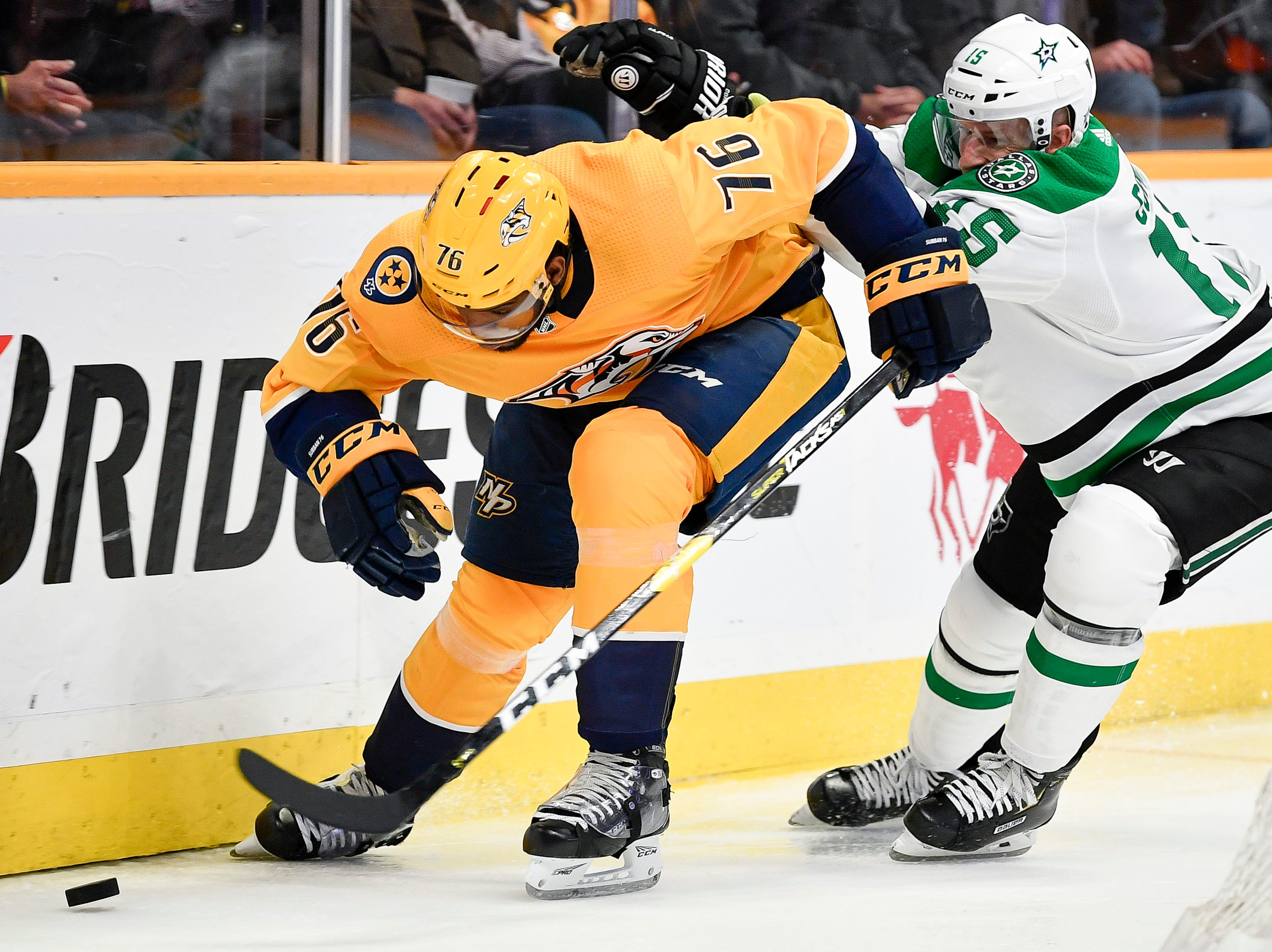 Nashville Predators defenseman P.K. Subban (76) chases the puck with Dallas Stars left wing Blake Comeau (15) during the second period at Bridgestone Arena in Nashville, Tenn., Thursday, Feb. 7, 2019.