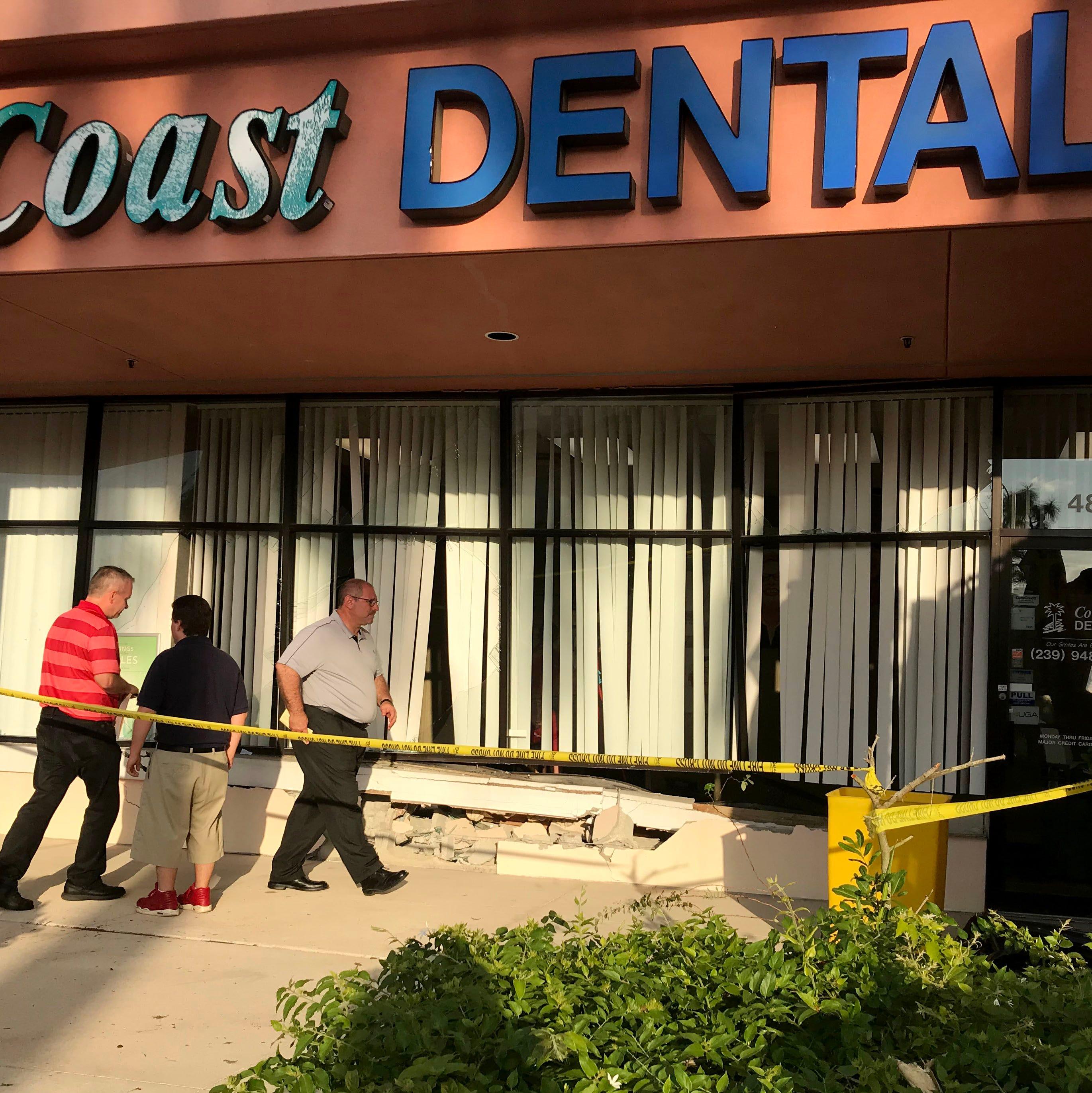 Car crashes into dental office in Bonita Springs; two people injured