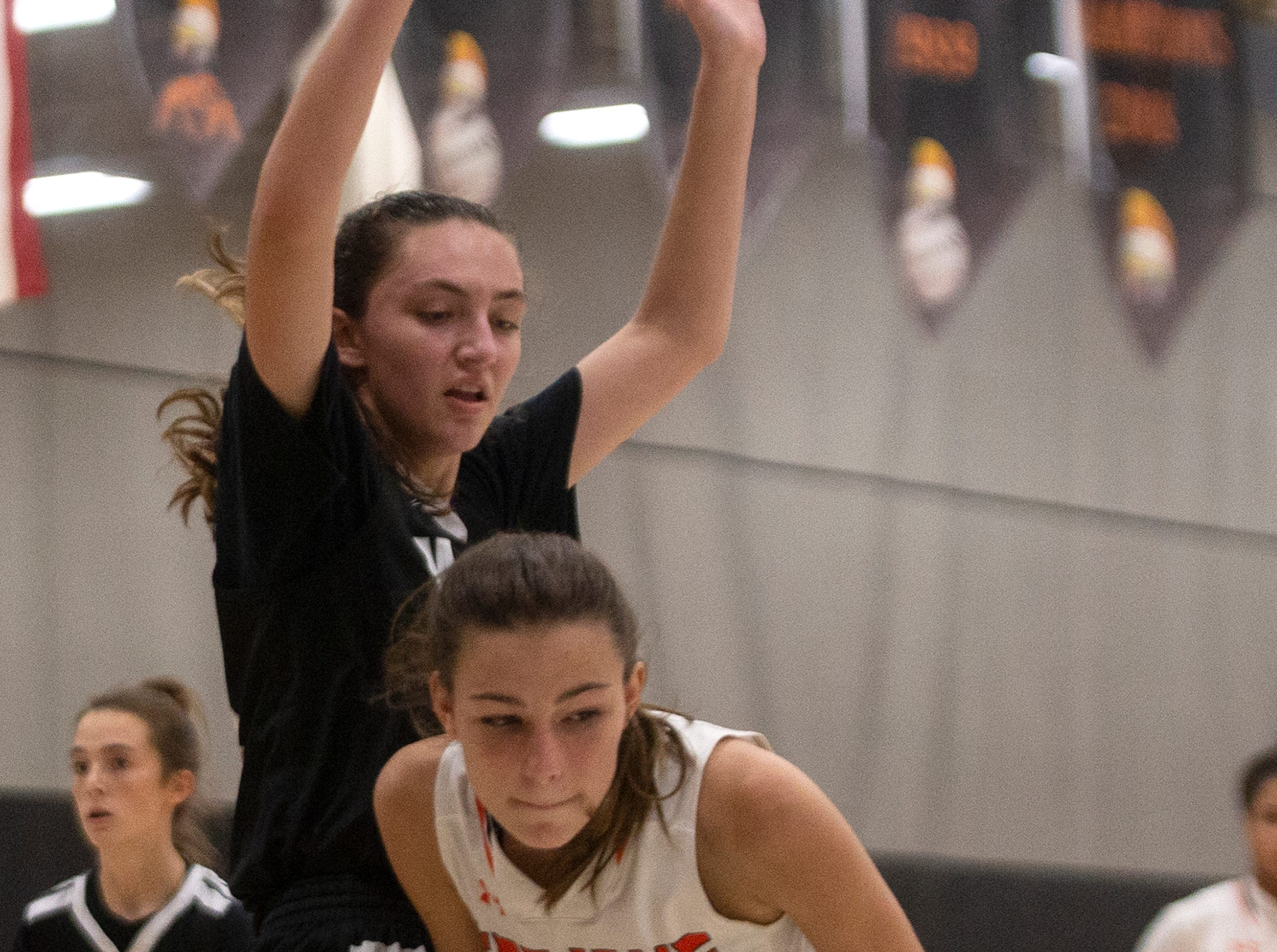 Lely High School's Savvy Weeks moves under the basket while defended by Mariners High School's Carlee Groeneveld, Thursday, Feb. 6, 2019, at Lely High School.