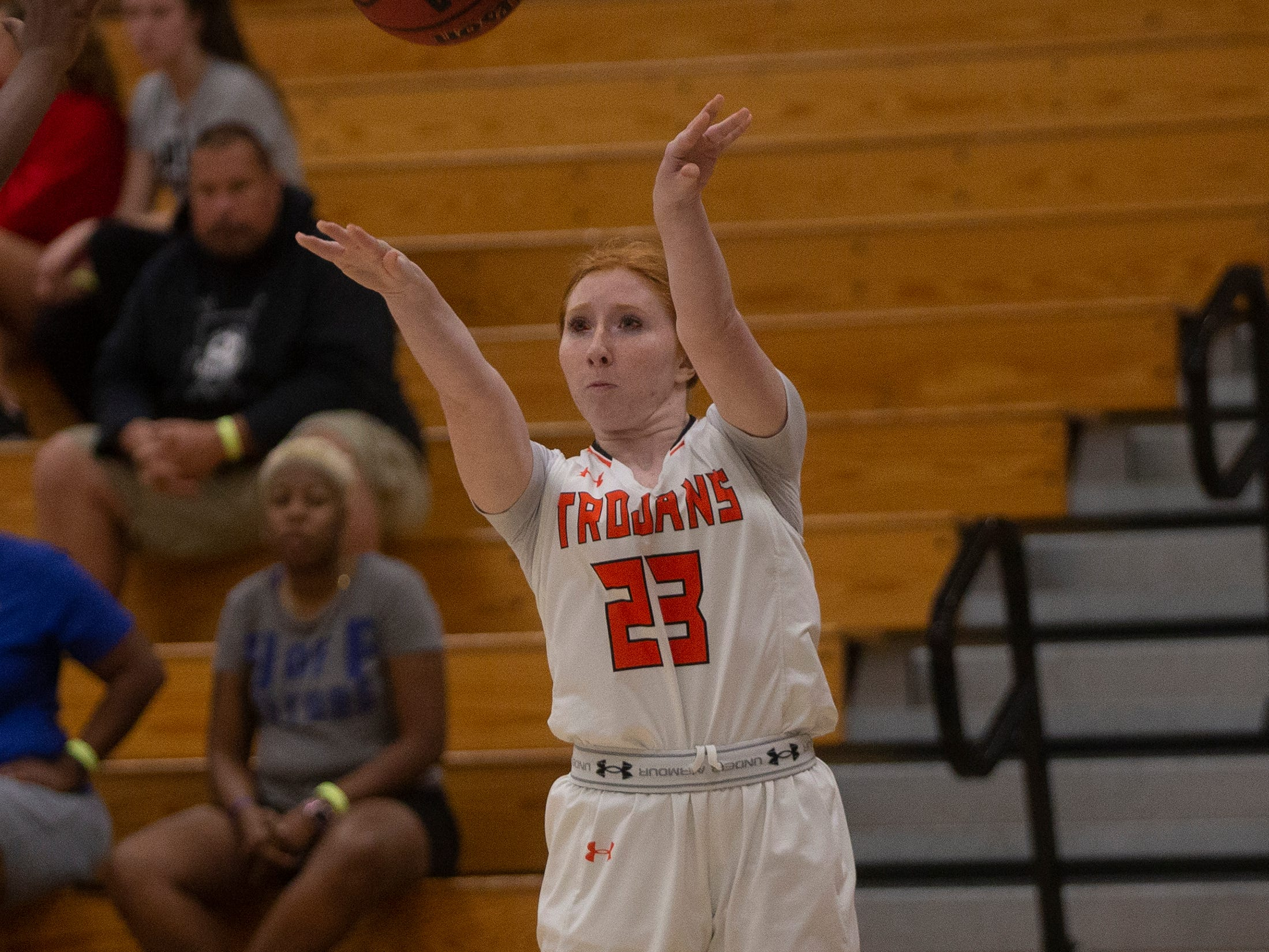 Lely High School's Bella Holan attempts a three-pointer during their basketball game against Mariners High School, Thursday, Feb. 6, 2019, at Lely High School.