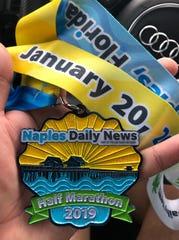 Oscar Santiago Torres participated in the Naples Daily News Half Marathon – his first half marathon – Sunday, Jan. 20, 2019, in downtown Naples.