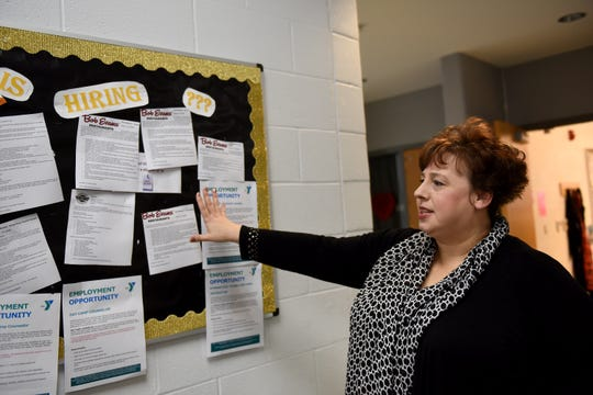 Lori Mye, who works full-time at Ohio Means Jobs, talks about the job board she maintains at Newark High School as part of her work to bring career experiences to students.