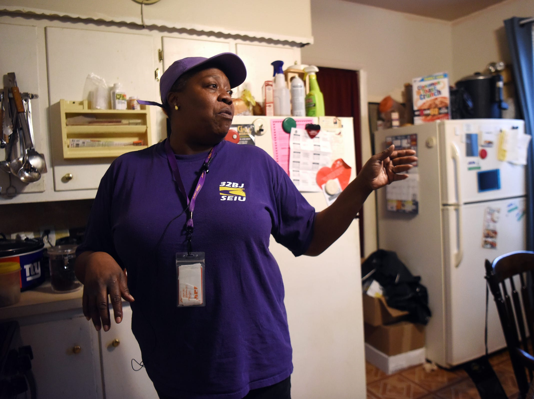 Leslie Hall of Trenton, a food service worker making $11.90 and hour, shops sales and uses her two freezers to store food she buys in bulk when the prices are good.