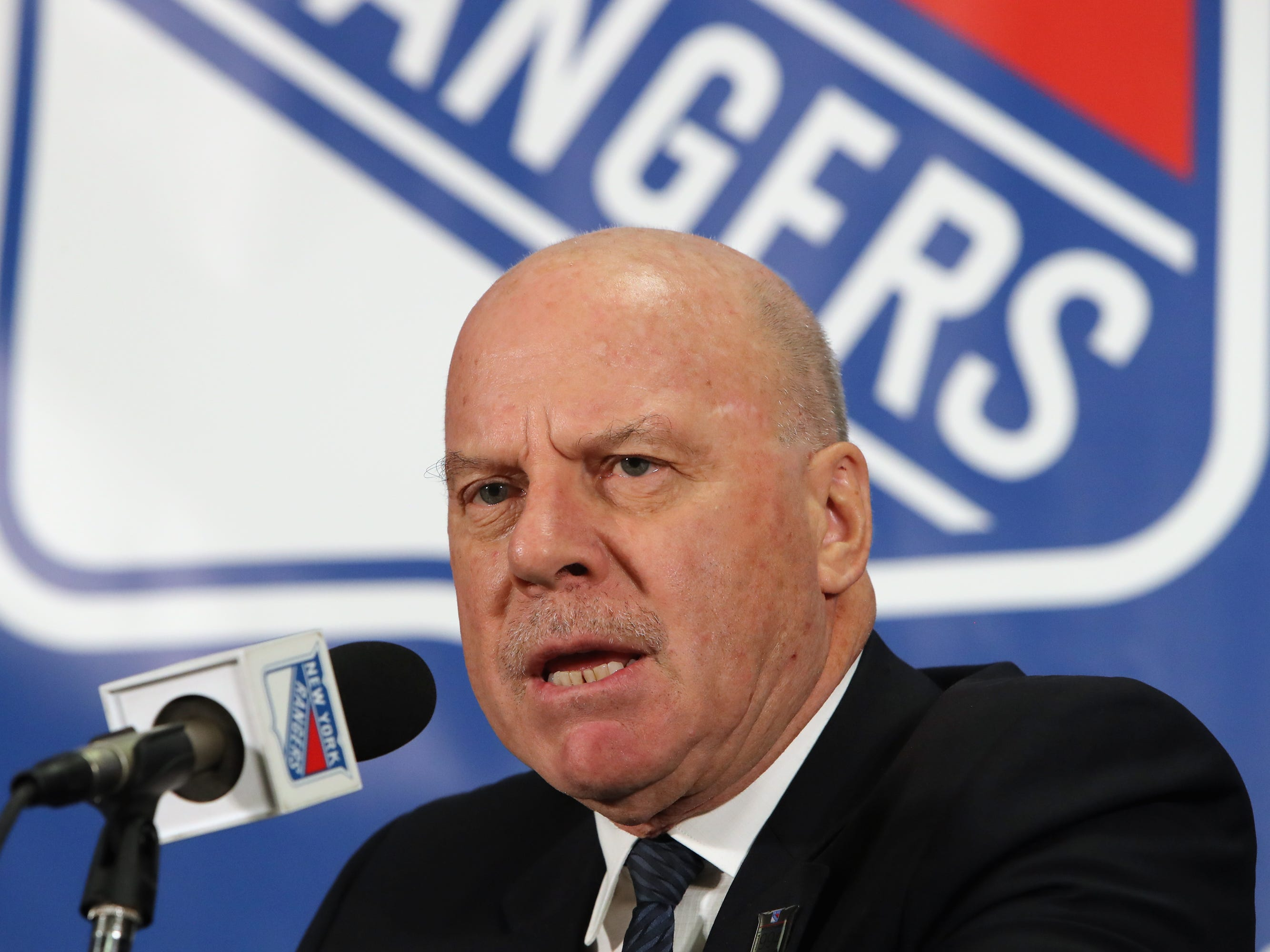 NEW YORK, NEW YORK - FEBRUARY 08: Former New York Ranger  head coach Mike Keenan meets with the media prior to the Rangers game against the Carolina Hurricanes at Madison Square Garden on February 08, 2019 in New York City. The Rangers were celebrating the 25th anniversary of their Stanley Cup win in 1994.