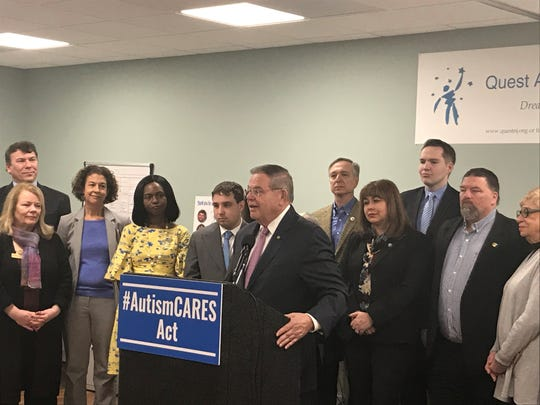 Sen. Bob Menendez presented the Autism CARES Act of 2019 at a press conference in Midland Park Friday.