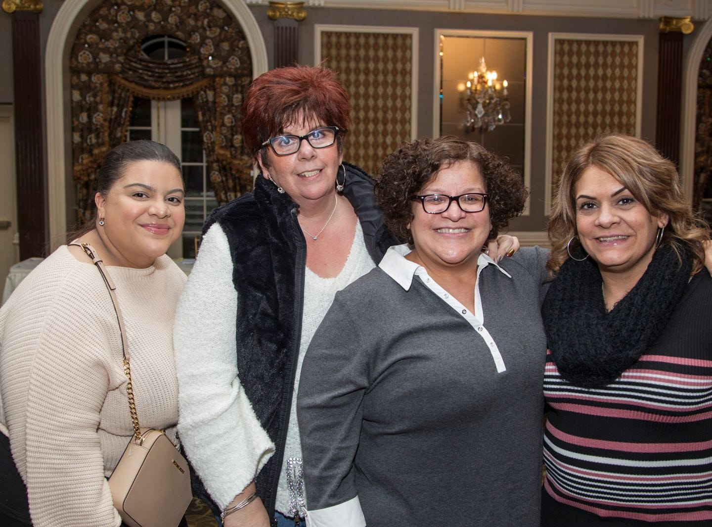 Megan Marrero, Maryann Mancini, Elizabeth Gonzalez, Rosa Vargas.  A Night at the Races hosted by OASIS at the Brownstone in Paterson. 2/7/2019
