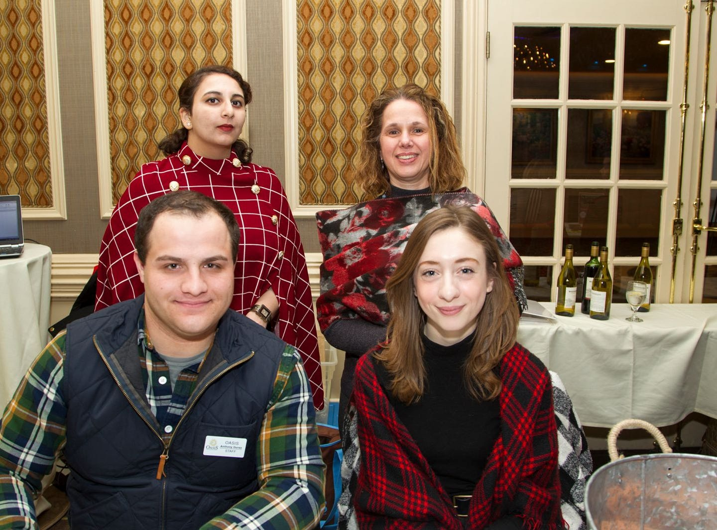 Anthony Durso, Meredith Mulinos, Linda Sisti, Hamna Khuld. A Night at the Races hosted by OASIS at the Brownstone in Paterson. 2/7/2019
