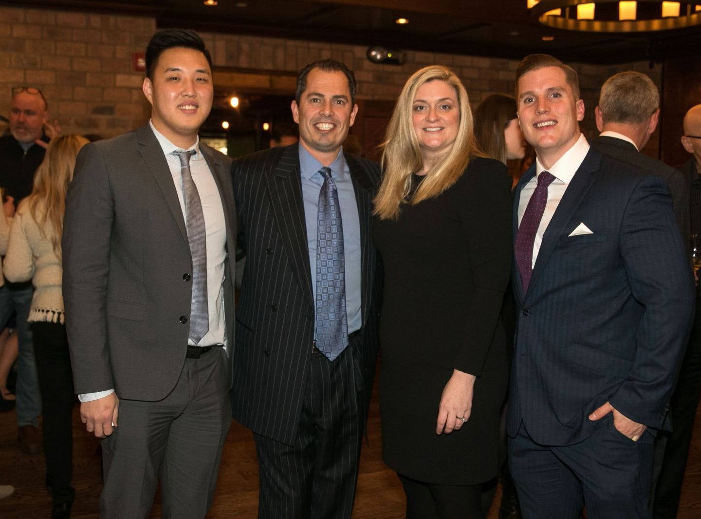 Min Kim, Pat Grande, Christina Gibbons, Bryan Struk. Christina Gibbons of Special Properties held a cocktail reception to acknowledge her clients at Roots Steakhouse in Ridgewood. 02/07/2019