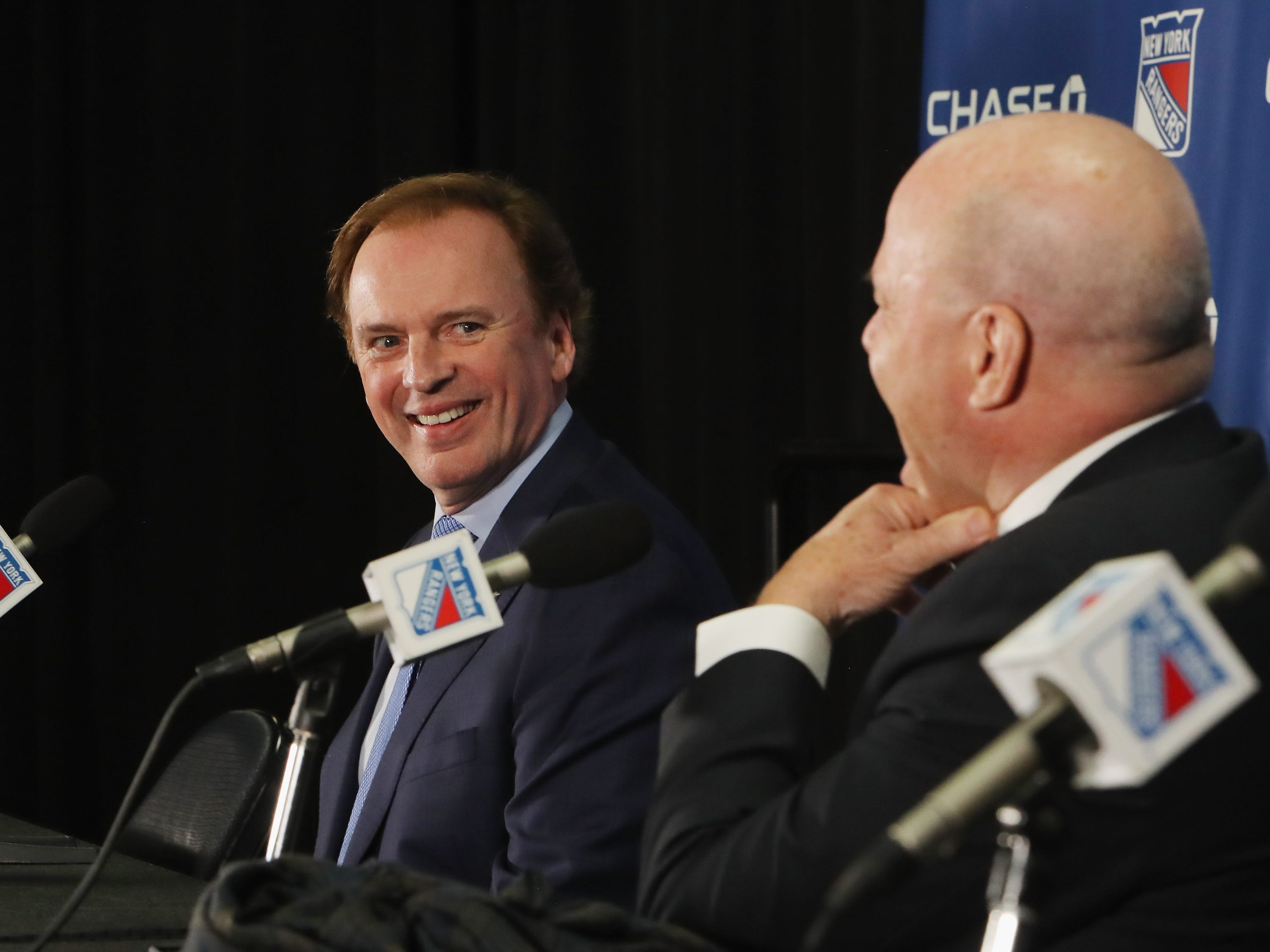 NEW YORK, NEW YORK - FEBRUARY 08: (l-r) Former New York Ranger GM Neil Smith and coach Mike Keenan meet with the media prior to the Rangers game against the Carolina Hurricanes at Madison Square Garden on February 08, 2019 in New York City. The Rangers were celebrating the 25th anniversary of their Stanley Cup win in 1994.