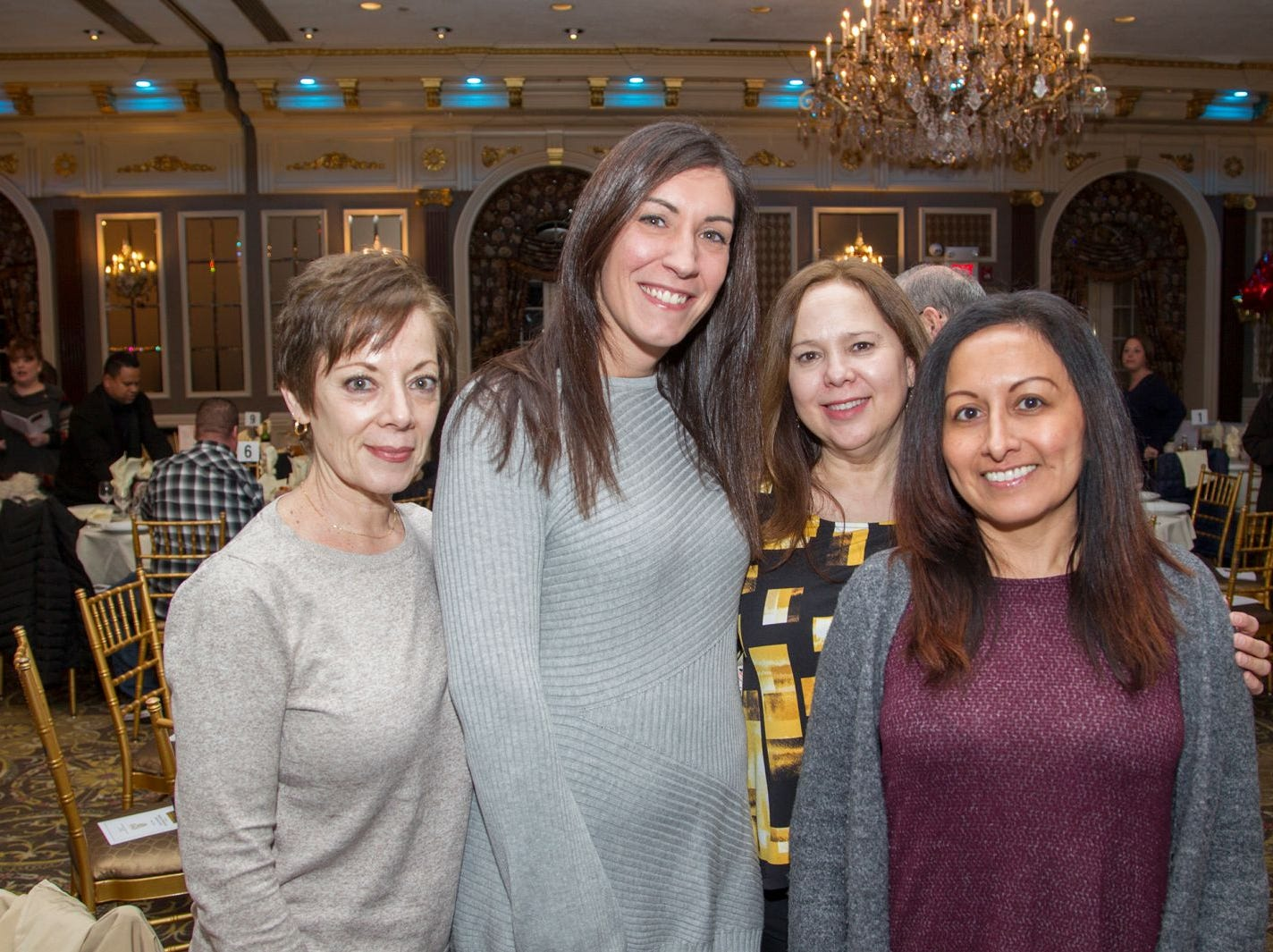 Linda Ulm, Jackie Miraglin, Gina Arechiga, Sally Ortiz.  A Night at the Races hosted by OASIS at the Brownstone in Paterson. 2/7/2019