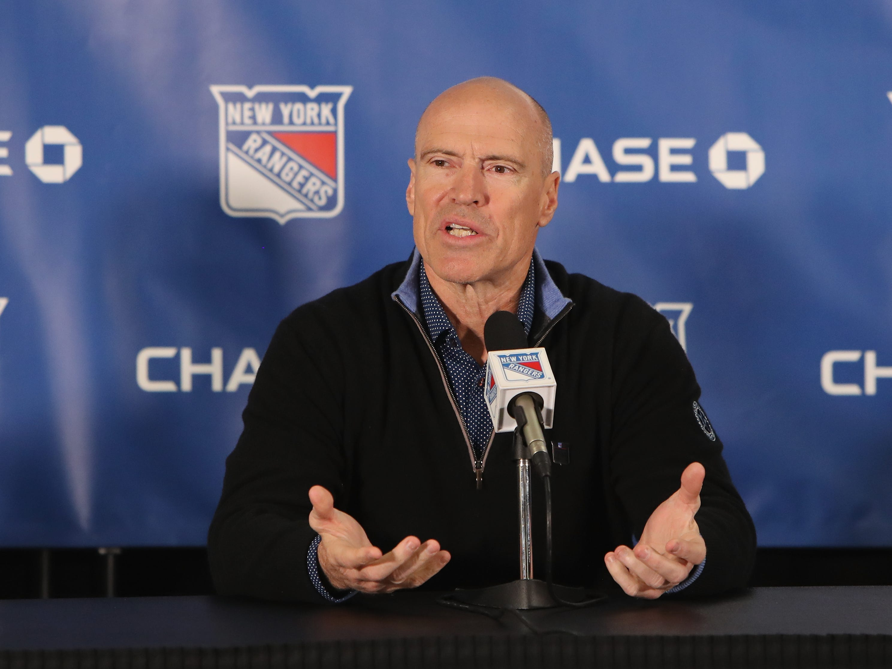 NEW YORK, NEW YORK - FEBRUARY 08: Former New York Ranger  Mark Messier meets with the media prior to the Rangers game against the Carolina Hurricanes at Madison Square Garden on February 08, 2019 in New York City. The Rangers were celebrating the 25th anniversary of their Stanley Cup win in 1994.
