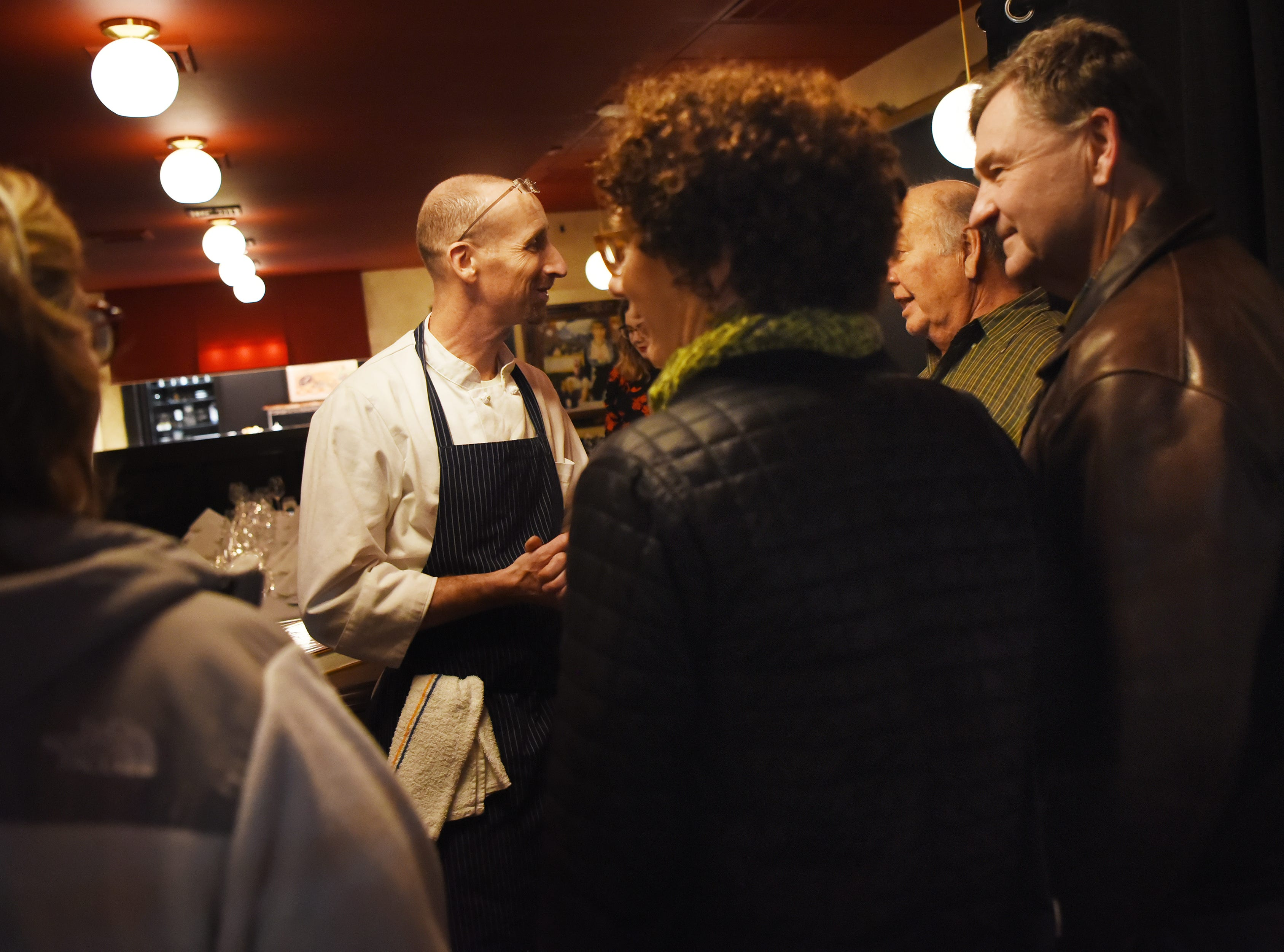 Chef/Owner Ross Goldflam greets guests during the dinner with Esther event at Technique, a French restaurant in Westwood on Thursday February 7, 2019.