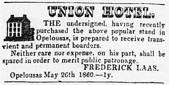 1860 Frederick Laas ad for Union Hotel