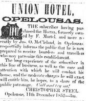 1852 Union Hotel ad from Opelousas Courier