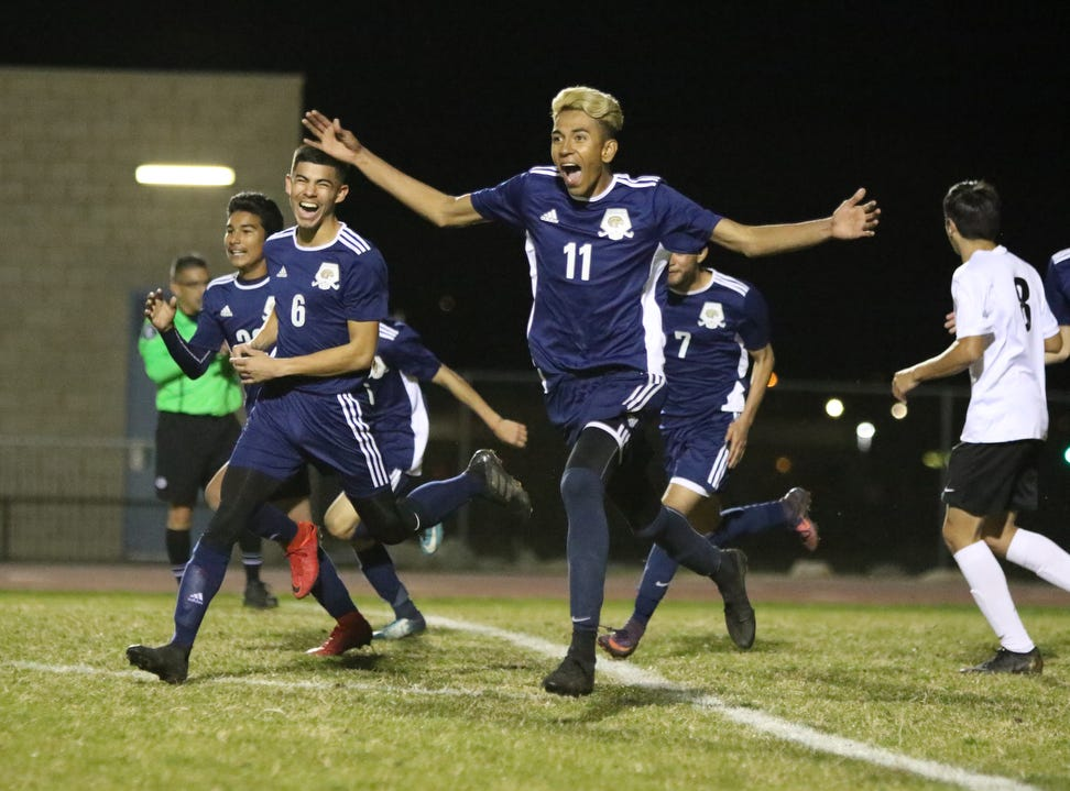 Desert Hot Springs' Juan Velasquez celebrates his goal during the CIF round one playoff game against Palm Springs in Desert Hot Springs on Thursday, February 7, 2019. Desert Hot Springs won 3-2.