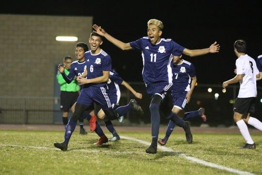 Desert Hot Springs' Juan Velasquez celebrates his goal during the CIF round one playoff game against Palm Springs in Desert Hot Springs on Thursday, February 7, 2019. Desert Hot Springs won 3-2.