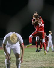 Brandon Hernandez of Desert Mirage celebrates his second half goal.