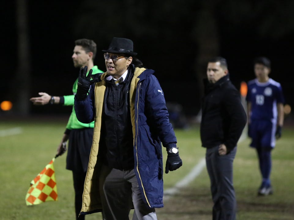Desert Hot Springs' coach Angel Fragoso on the sidelines during the CIF round one playoff game in Desert Hot Springs on February 7, 2019. Desert Hot Springs won 3-2.