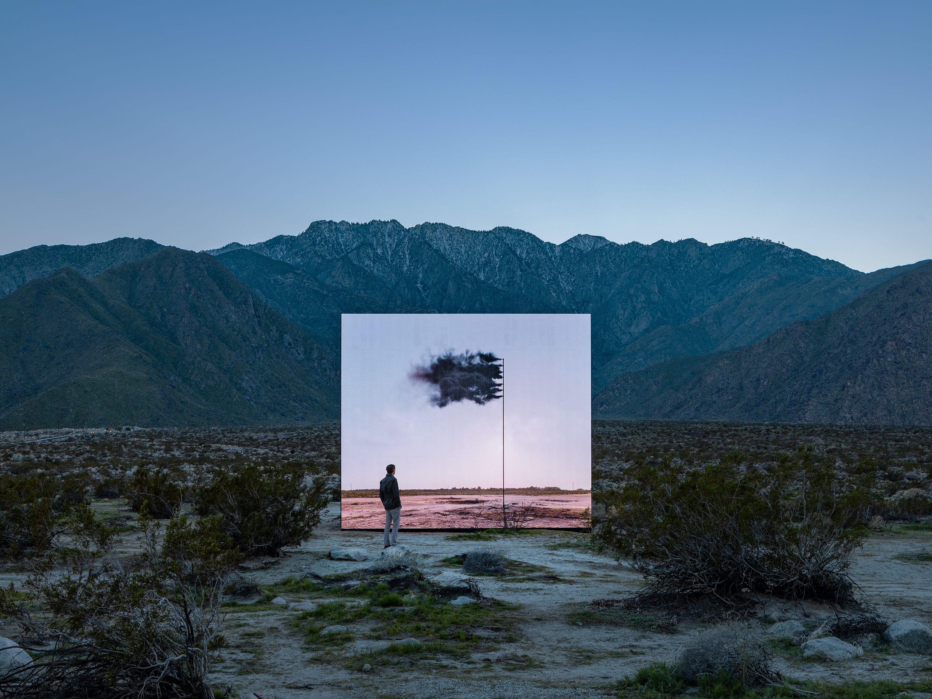 """Western Flag (Spindletop, Texas)"" by John Gerrard for Desert X 2019"