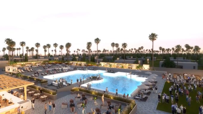 Artist renderings of the Hotel Indigo Coachella, a new 35-acre casita-style resort.