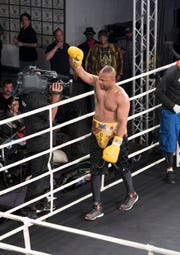 Roy Jones Jr. acknowledges the crowd after fighting an exhibition match against Dion Rizzuto during the Island Fights 52 at the Jadji Shrine in Pensacola on Thursday, February 7, 2019.