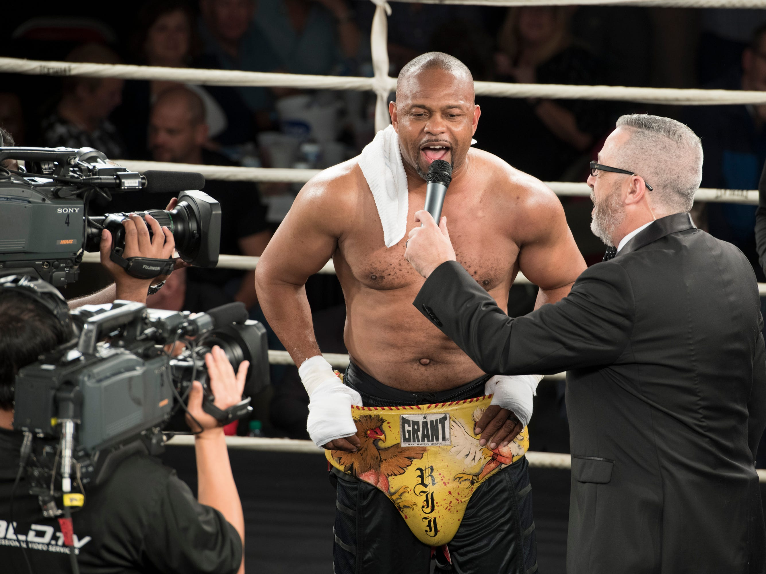 Roy Jones Jr. is interviewed after fighting an exhibition match against Dion Rizzuto during the Island Fights 52 at the Jadji Shrine in Pensacola on Thursday, February 7, 2019.