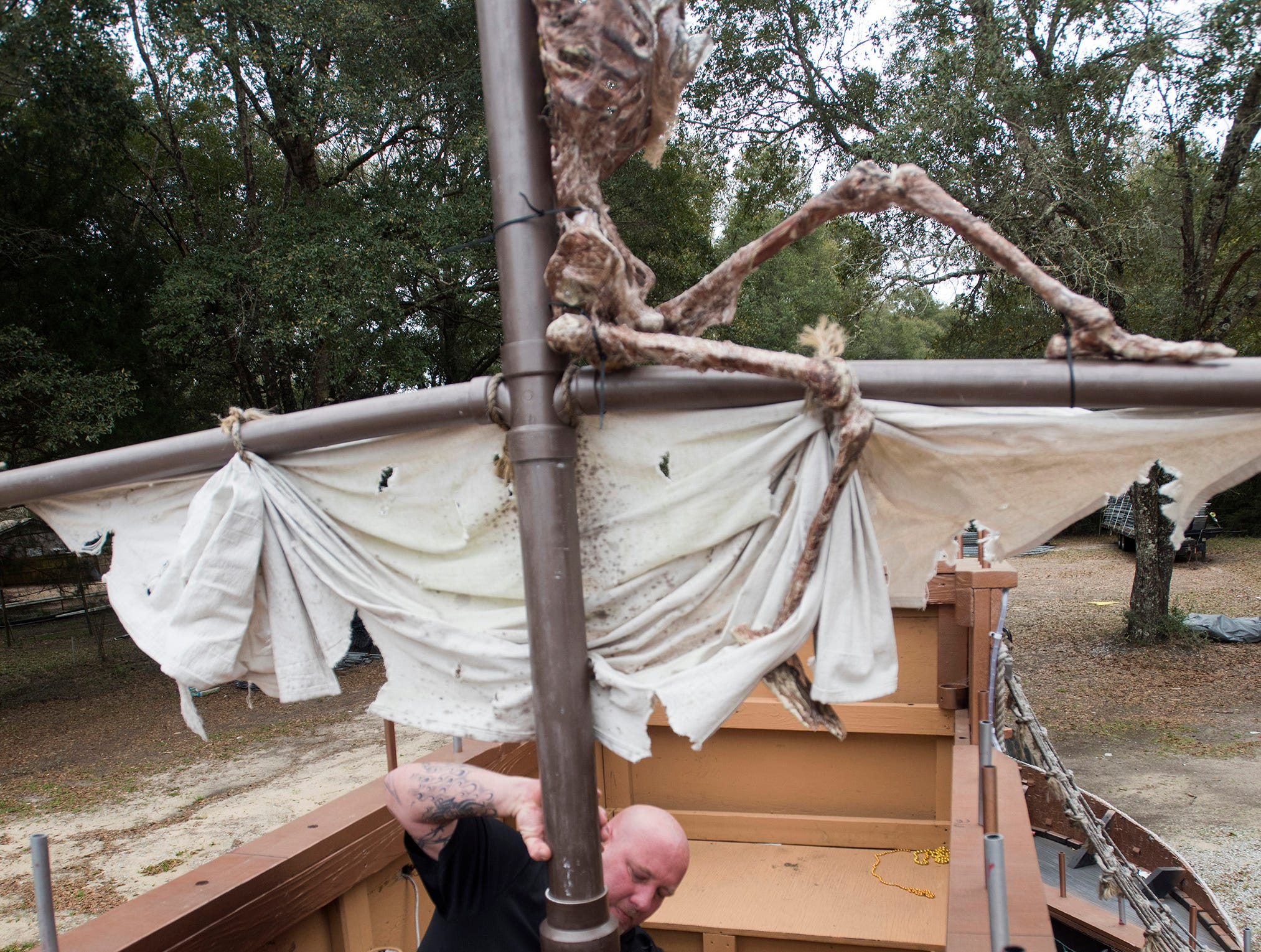 Patrick Fitzgerald, the president of the Krewe of Airship Pirates, gets the krewes' float ready for the upcoming Mardi Gras season on Friday, Feb 8, 2019. The Krewe of Airship Pirates float will take to the streets of Milton for the first time next weekend.
