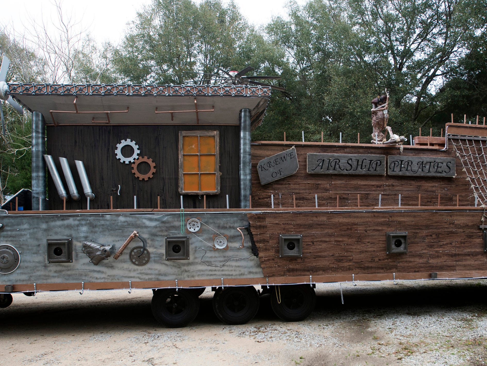 The Krewe of Airship Pirate's float ready to roll for the upcoming Mardi Gras season on Friday, Feb 8, 2019. The Krewe of Airship Pirates float will take to the streets of Milton for the first time next weekend.