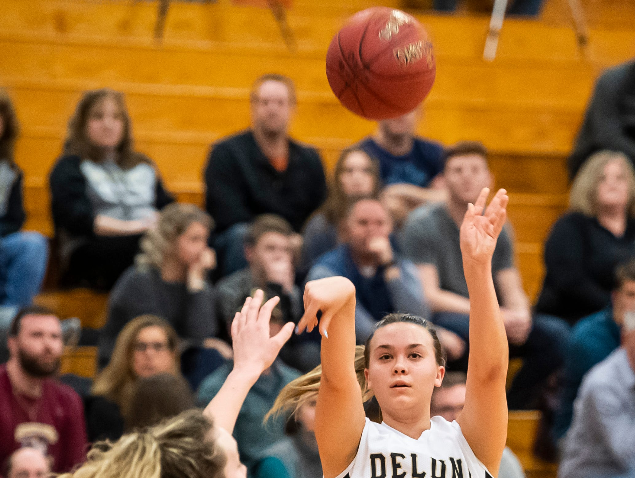 Delone Catholic's Colleen Anderson takes a jump shot during play against Gettysburg in a YAIAA quarterfinal game at Dover High School Friday, February 8, 2019.