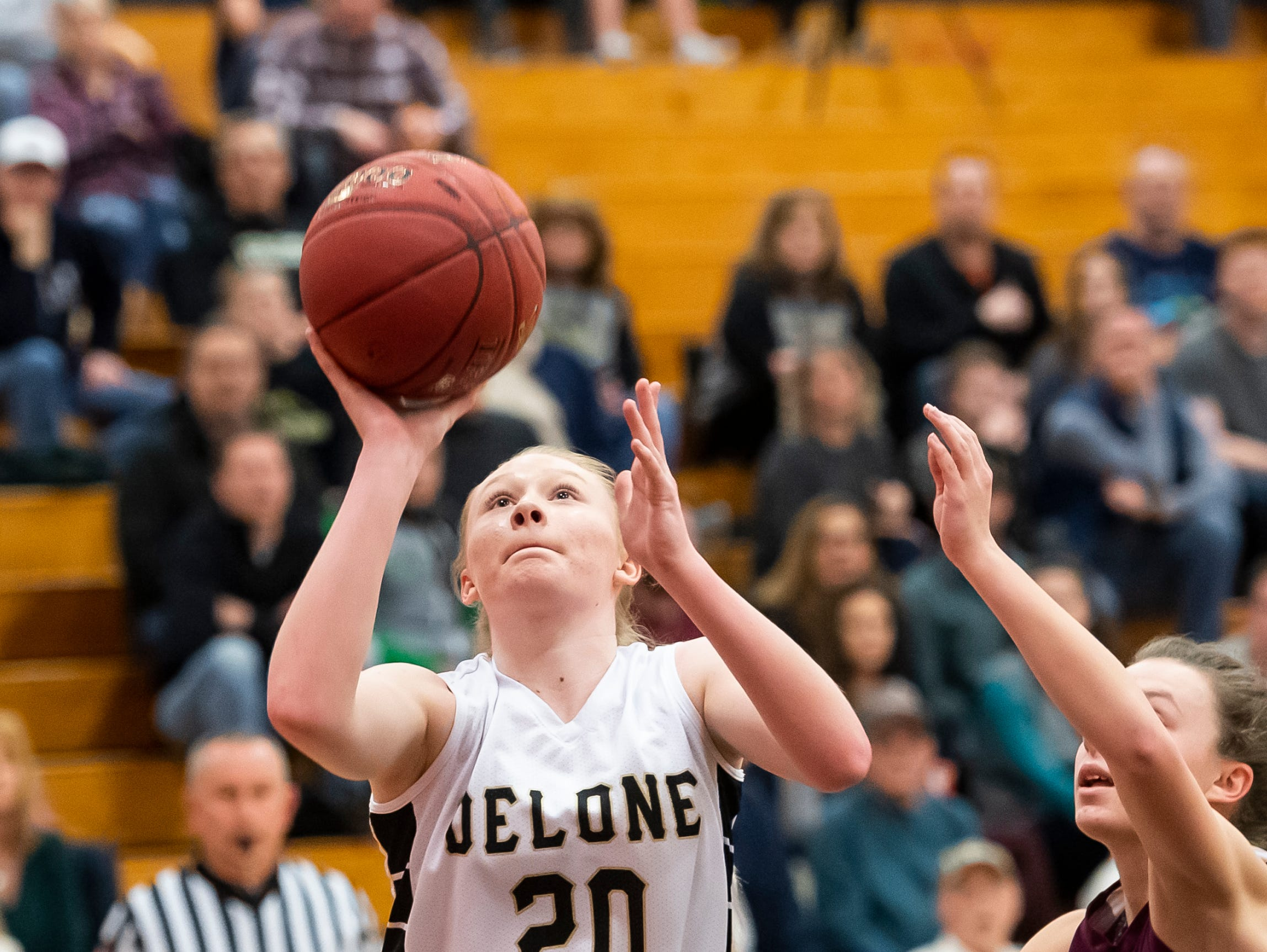Delone Catholic's Brooke Lawyer scores on a layup during play against Gettysburg in a YAIAA quarterfinal game at Dover High School Friday, February 8, 2019.