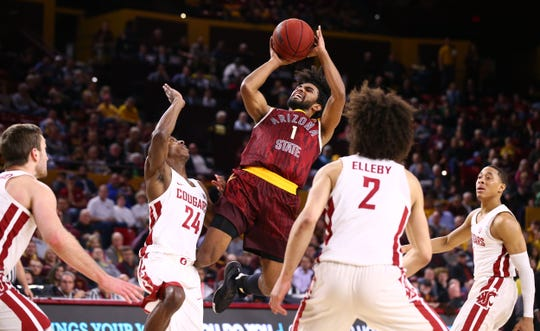 Arizona State Sun Devils guard Remy Martin throws-up a shot against the Washington State Cougars in the second half on Feb. 7 at Wells Fargo Arena in Tempe.
