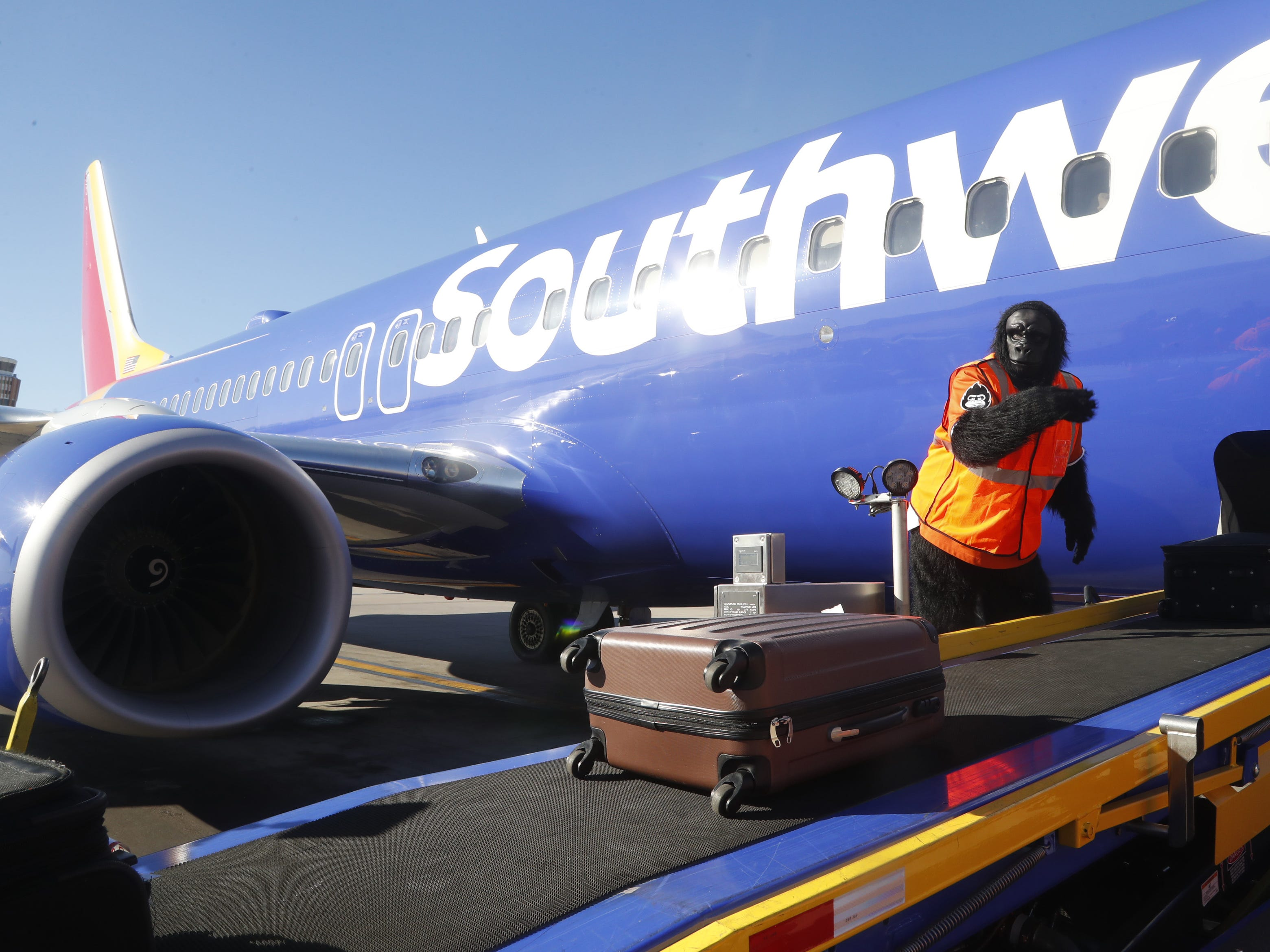 "Suns' Gorilla helps get bags aboard flights during a Suns and Southwest ""trading places"" event where players took on the roles of Southwest Airlines employees at Phoenix Sky Harbor Airport in Phoenix, Ariz. on February 7, 2019."