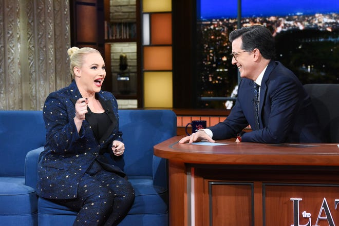 "Meghan McCain talks to Stephen Colbert on ""The Late Show."""