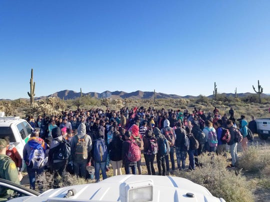 Border Patrol agents found more than 300 Central American migrants in southwest Arizona on Feb. 8, 2019.