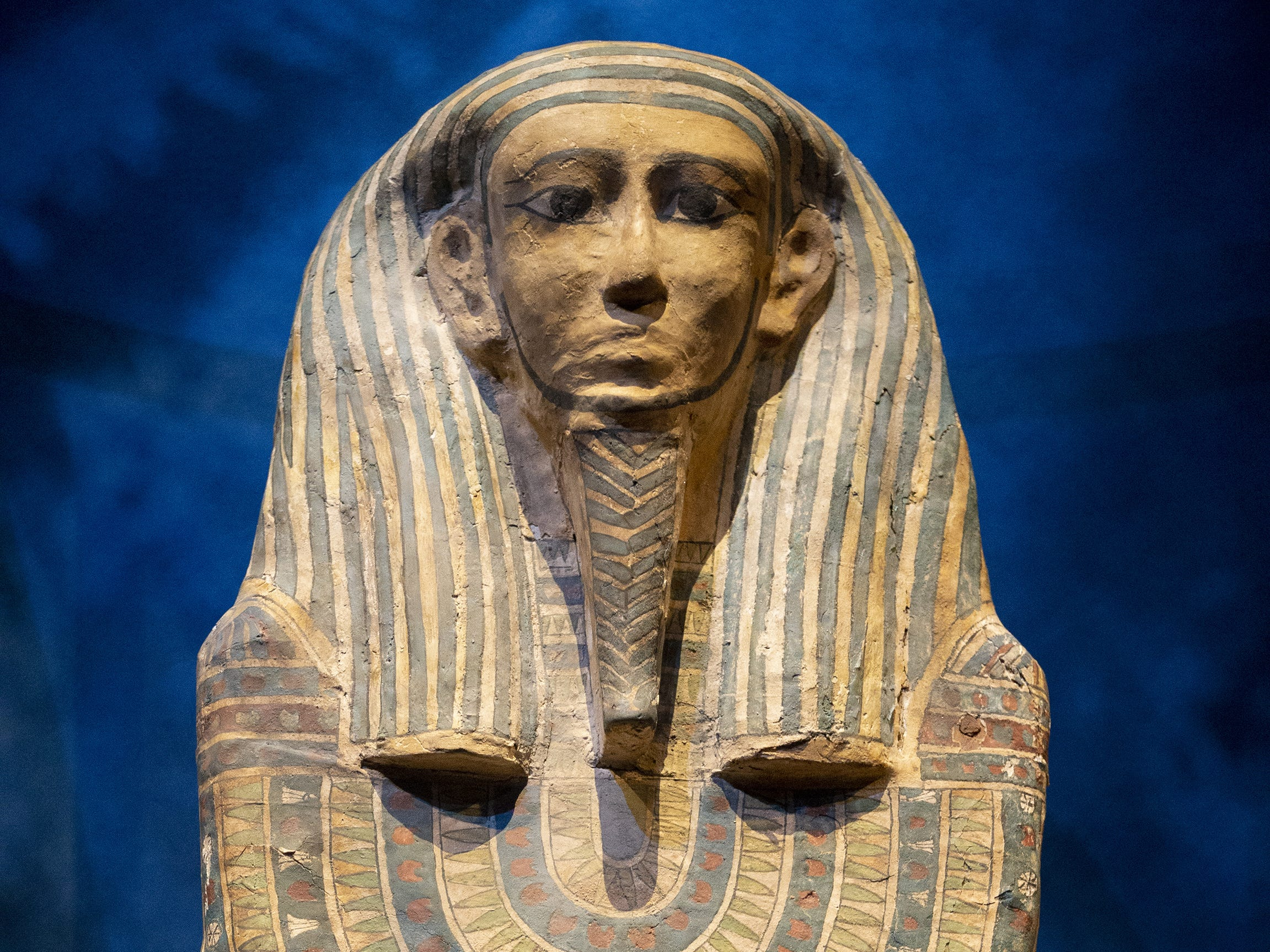 Sarcophagus of a Woman of High Status is displayed at the Mummies of the World: The Exhibition at the Arizona Science Center. The exhibit includes mummies from Egypt, Europe and the U.S. and is open to the public from Feb. 10 through Sept. 2, 2019.