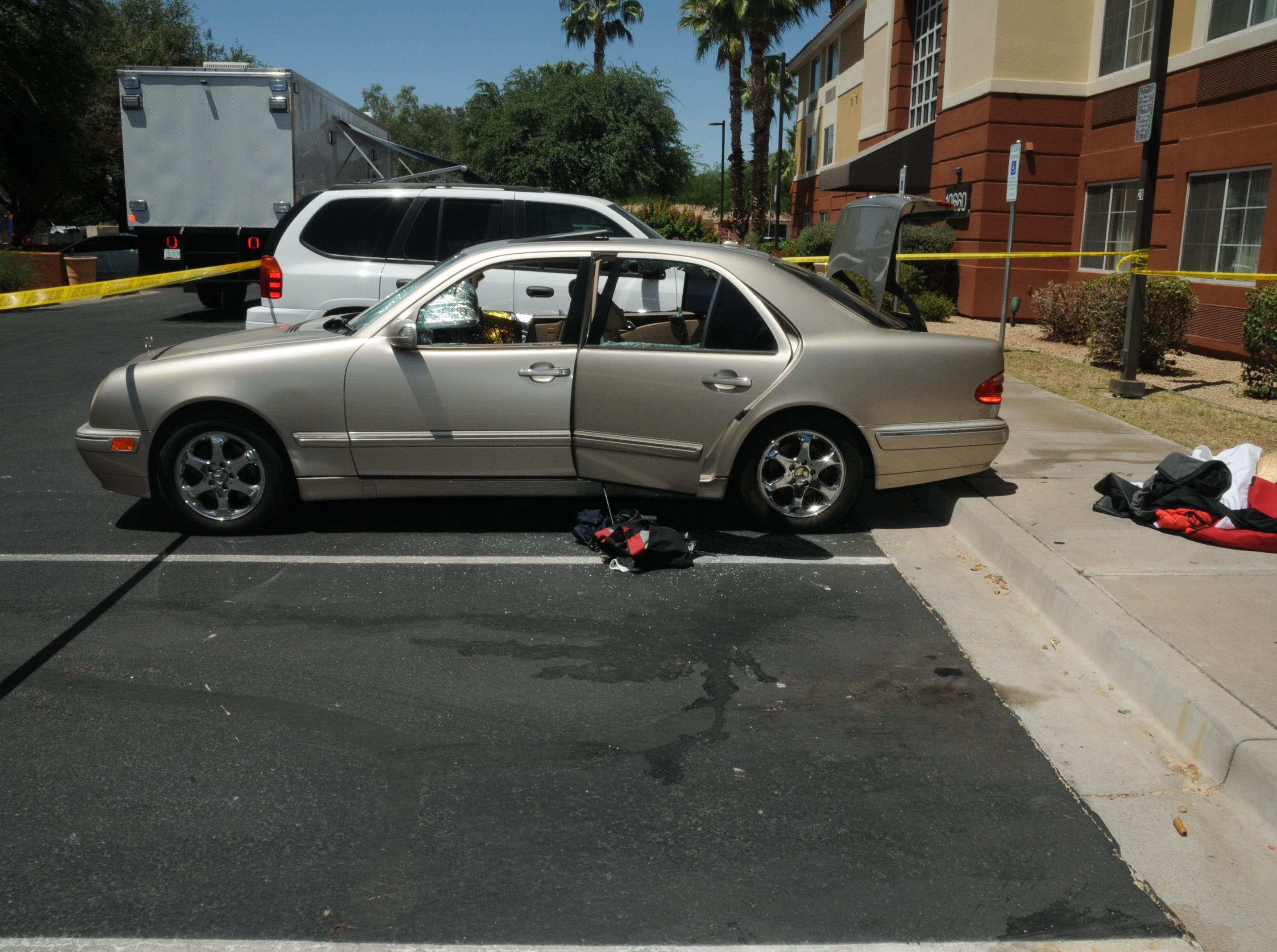 Scottsdale Police Department photo of Dwight Lamon Jones' car outside his Scottsdale Extended Stay hotel room near 69th Street and Shea Boulevard. After a bitter divorce and failed years-long custody battle for his son, Jones went on a four-day shooting spree from May 31 to June 3, 2018, that left six people dead, before taking his own life.