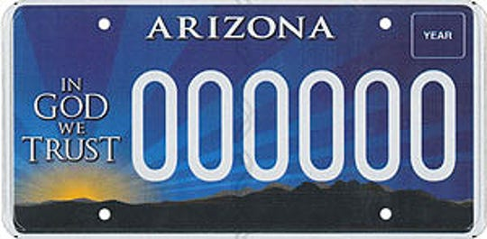 "Arizona's ""In God We Trust"" plate"