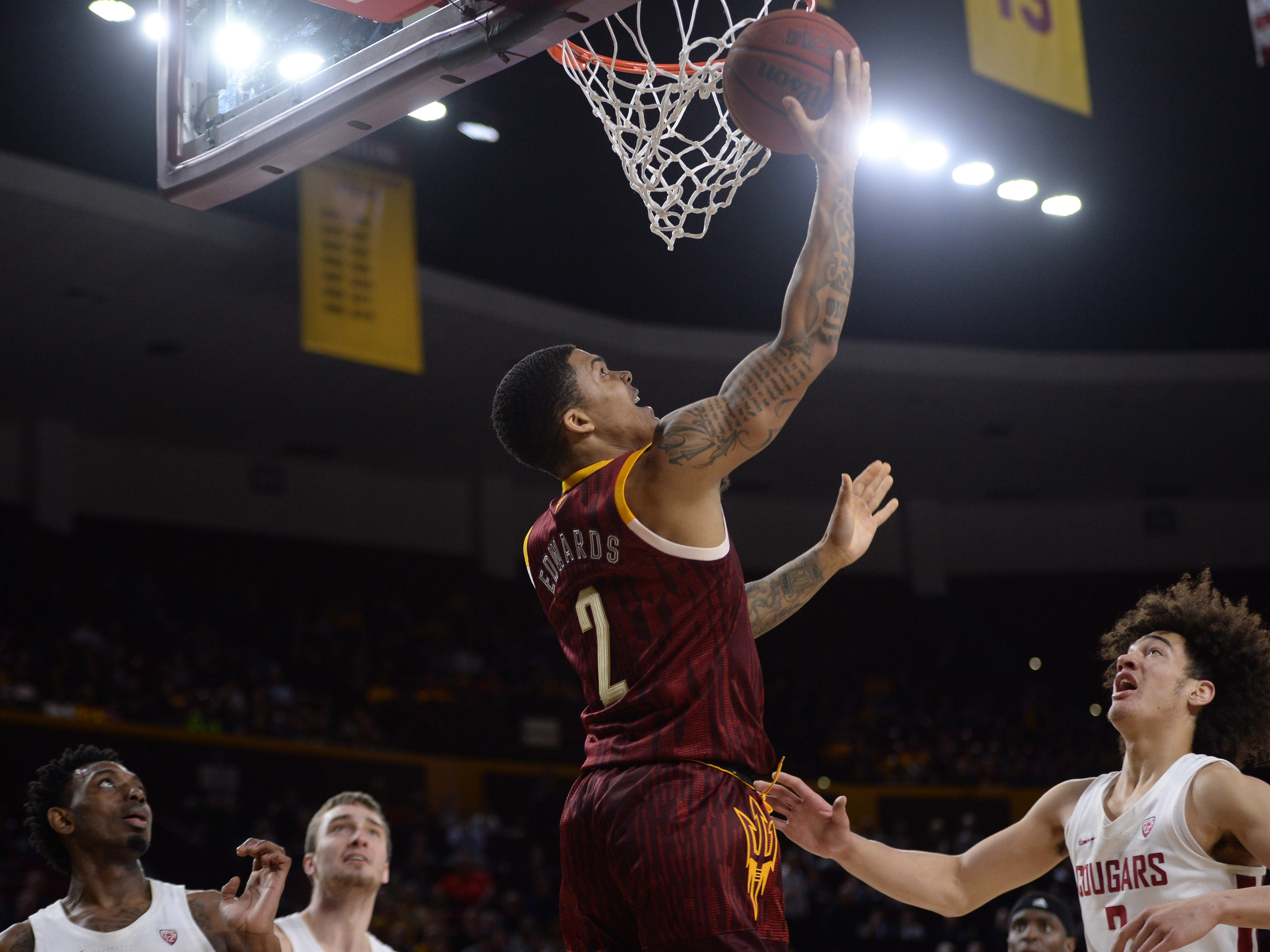 Feb 7, 2019; Tempe, AZ, USA; Arizona State Sun Devils guard Rob Edwards (2) puts up a layup against the Washington State Cougars during the second half at Wells Fargo Arena (AZ).