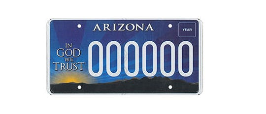 "Arizona's ""In God We Trust"" license plate."