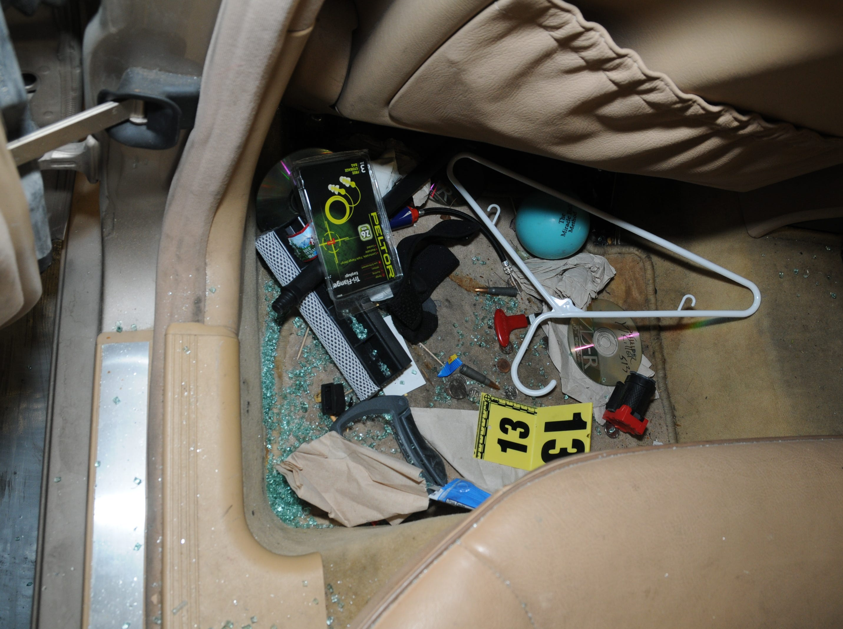 Scottsdale Police Department photo of the interior of Dwight Lamon Jones' car.  After a bitter divorce and failed years-long custody battle for his son, Jones went on a four-day shooting spree from May 31 to June 3, 2018, that left six people dead, before taking his own life.